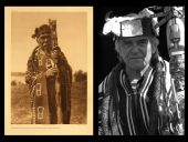 Hamasaka in Tlu'wulahu costume with speaker's staff (Qagyuhl). | Grainger: 'Namgis Chief William Cranmer.